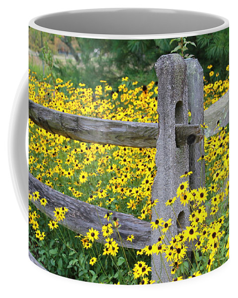 Flower Coffee Mug featuring the photograph Golden-rod Crowd Out by Deborah Crew-Johnson