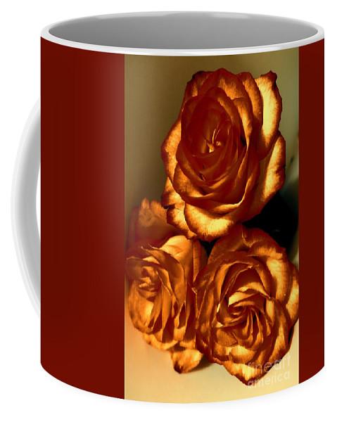 Floral Coffee Mug featuring the photograph Golden Roses 3 by Tara Shalton