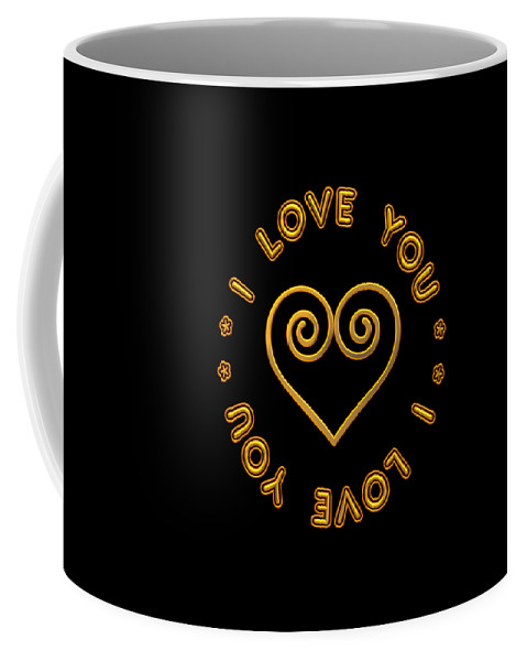 I Love You Coffee Mug featuring the digital art Golden Scrolled Heart And I Love You by Rose Santuci-Sofranko
