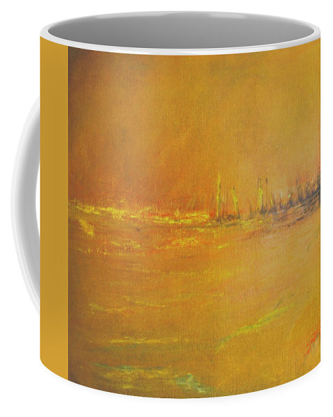 Ships Coffee Mug featuring the painting Golden Sky by Jack Diamond