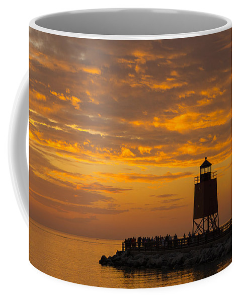 Charlevoix Coffee Mug featuring the photograph Golden Sky by LuAnn Griffin