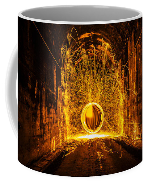 Golden Sphere Spinning Sparks Shooting Digital Art Steel Wool Tunnel Dark Coffee Mug featuring the photograph Golden Spinning Sphere by Pelo Blanco Photo
