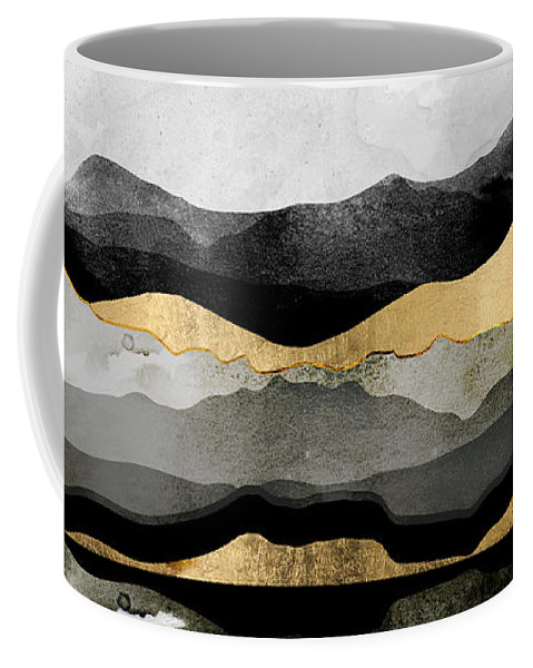Gold Coffee Mug featuring the digital art Golden Spring Moon by Spacefrog Designs