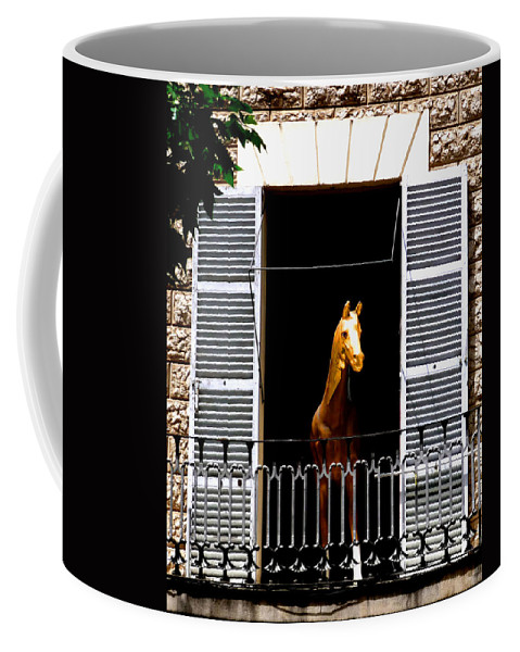Horse Coffee Mug featuring the photograph Golden Stallian by Charles Stuart