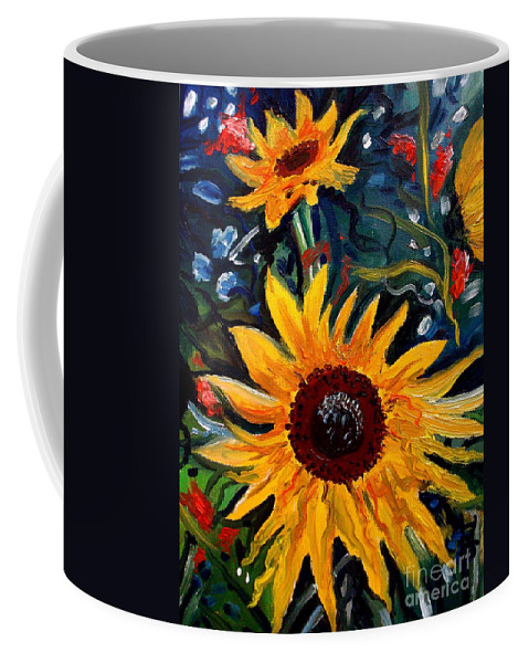 Impressionism Coffee Mug featuring the painting Golden Sunflower Burst by Elizabeth Robinette Tyndall