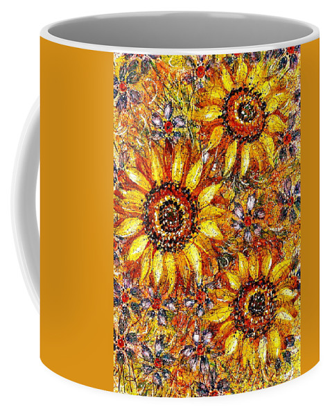 Sunflowers Coffee Mug featuring the painting Golden Sunflower by Natalie Holland