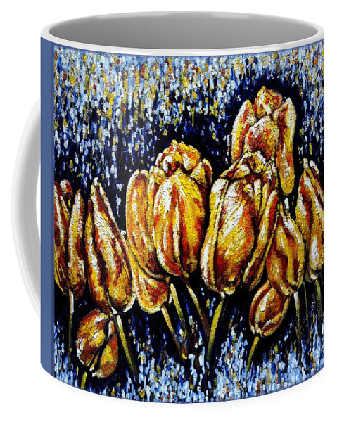 Tulips Coffee Mug featuring the painting Golden Tulips by Harsh Malik
