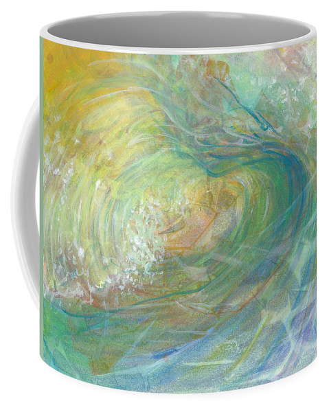 Wave Coffee Mug featuring the painting Golden Waters by Arlissa Vaughn