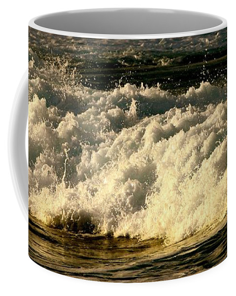 Coffee Mug featuring the photograph Golden White Wave by Debra Banks