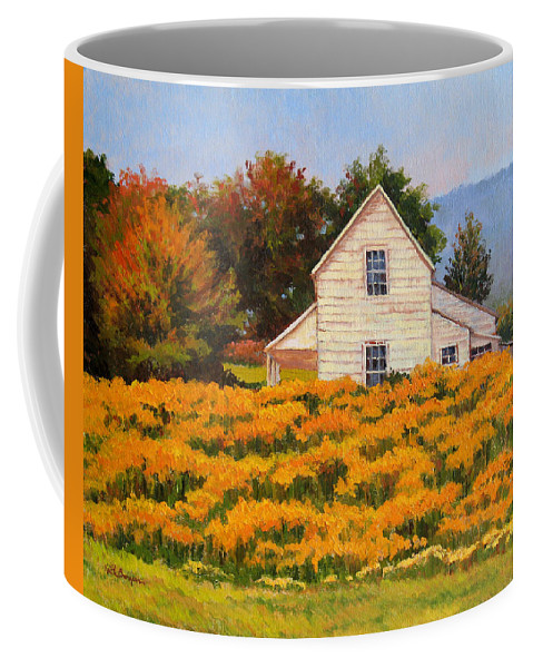 Impressionism Coffee Mug featuring the painting Goldenrod Time by Keith Burgess
