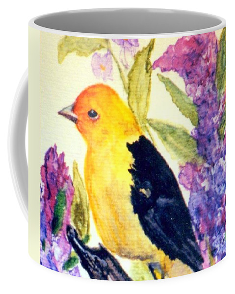 Birds Coffee Mug featuring the painting Goldfinch by Gail Kirtz