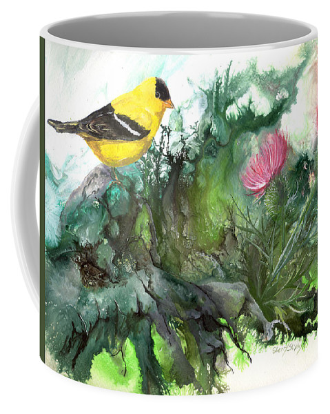Bird Coffee Mug featuring the painting Goldfinch by Sherry Shipley