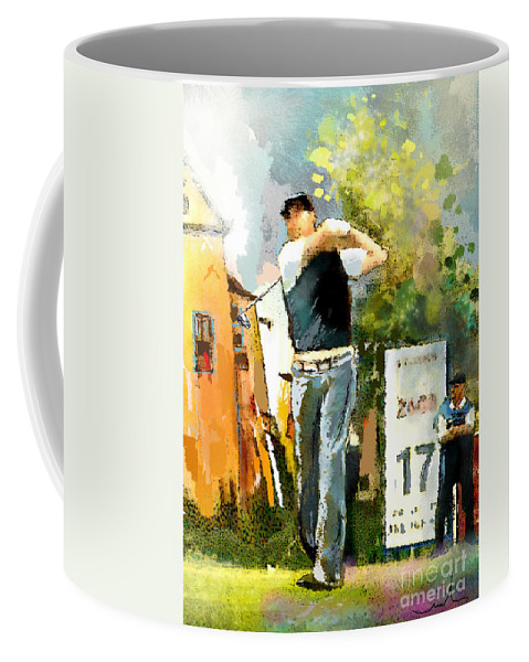 Golf Coffee Mug featuring the painting Golf In Club Fontana Austria 01 Dyptic Part 01 by Miki De Goodaboom