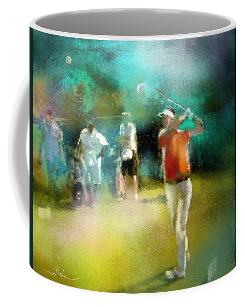 Golf Painting Golfer Sport Pga Tour Club Fontana Vienna Austria Austria Open Coffee Mug featuring the painting Golf In Club Fontana Austria 03 by Miki De Goodaboom