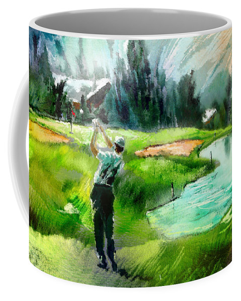 Golf Coffee Mug featuring the painting Golf In Crans Sur Sierre Switzerland 01 by Miki De Goodaboom