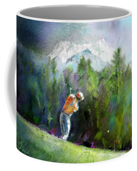 Golf Coffee Mug featuring the painting Golf In Crans Sur Sierre Switzerland 02 by Miki De Goodaboom