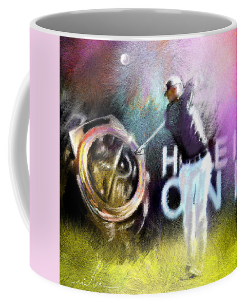 Golf Coffee Mug featuring the painting Golf In Crans Sur Sierre Switzerland 03 by Miki De Goodaboom