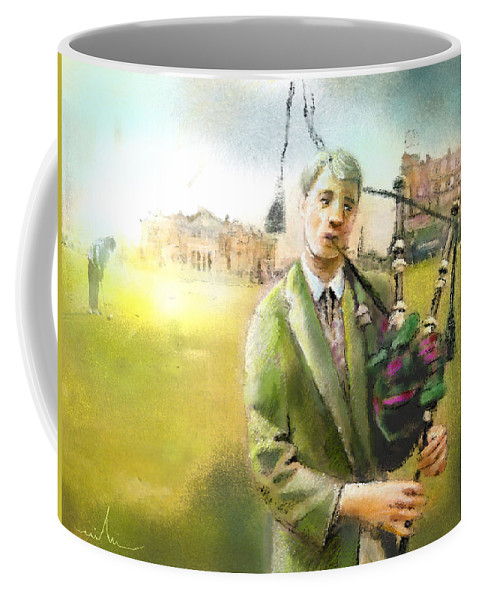 Golf Coffee Mug featuring the painting Golf In Scotland Saint Andrews 03 by Miki De Goodaboom