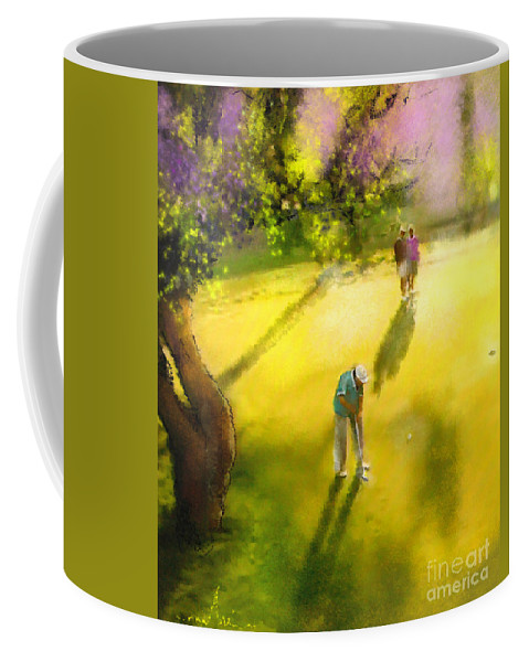 Golf Coffee Mug featuring the painting Golf In Spain Castello Masters 01 by Miki De Goodaboom