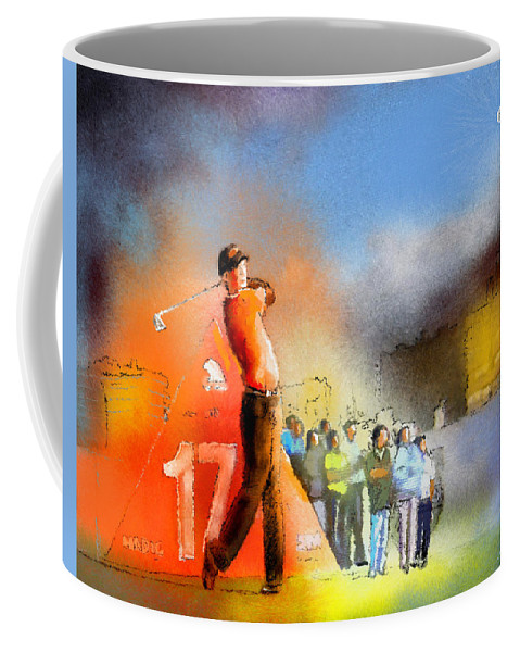 Golf Coffee Mug featuring the painting Golf Madrid Masters 01 by Miki De Goodaboom