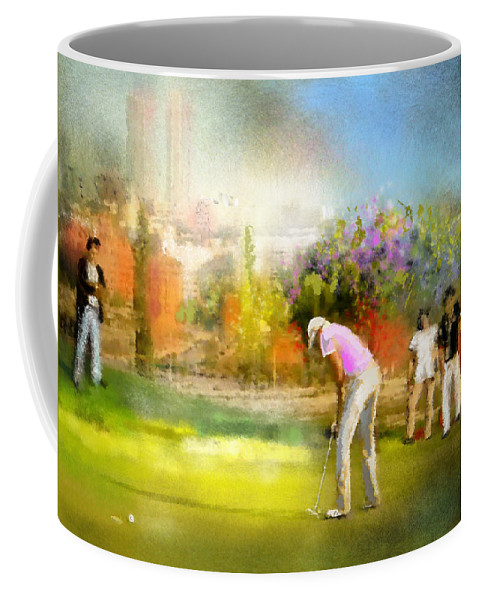 Golf Coffee Mug featuring the painting Golf Madrid Masters 02 by Miki De Goodaboom