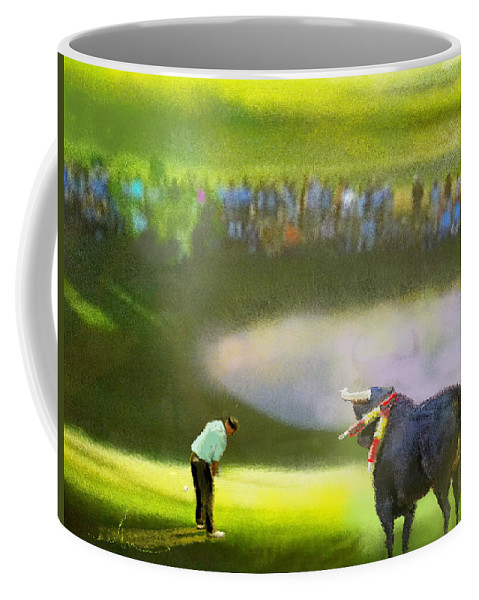 Golf Coffee Mug featuring the painting Golf Madrid Masters 03 by Miki De Goodaboom