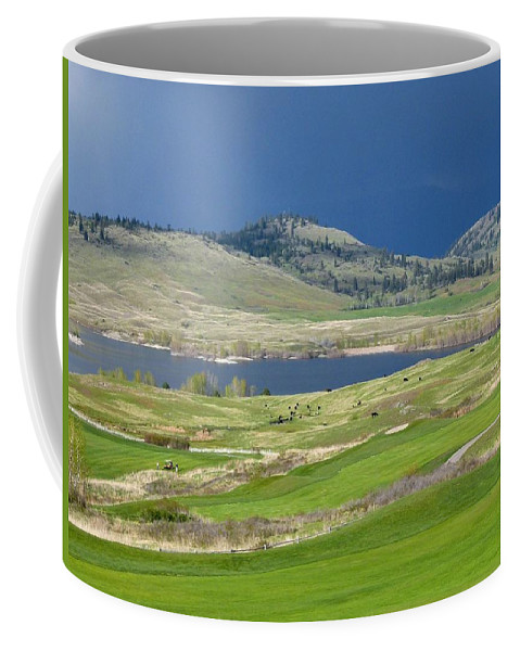 Golfing Coffee Mug featuring the photograph Golfing And Grazing by Will Borden