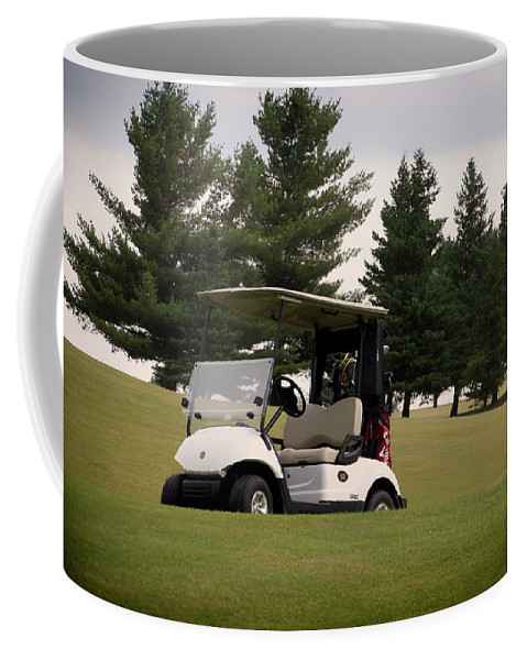 Golfing Coffee Mug featuring the photograph Golfing Golf Cart 01 by Thomas Woolworth