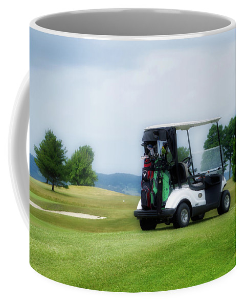 Tully New York Coffee Mug featuring the photograph Golfing Golf Cart 03 by Thomas Woolworth
