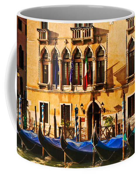 Venice Coffee Mug featuring the photograph Gondola Parking Only by Mick Burkey