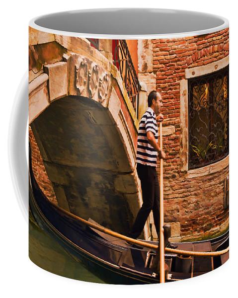 Gondolier Coffee Mug featuring the digital art Gondolier by Mick Burkey