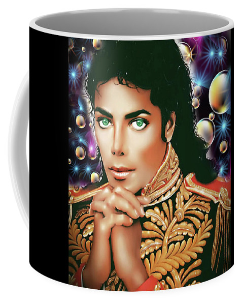 Michael Jackson King Of Pop Coffee Mug featuring the digital art Gone Too Soon by Karen Showell