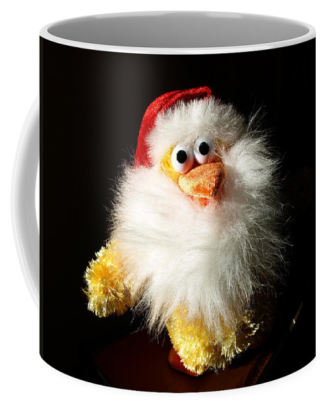 Evil; Good; Chicken; Bird; Stuffed; Animal; Fowl; Christmas; Beard; Hat; Bad; Sunshine; Barnyard; Du Coffee Mug featuring the photograph Good Chicken by Allan Hughes