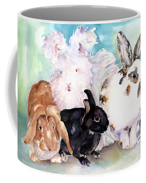 Animal Artwork Coffee Mug featuring the painting Good Hare Day by Pat Saunders-White