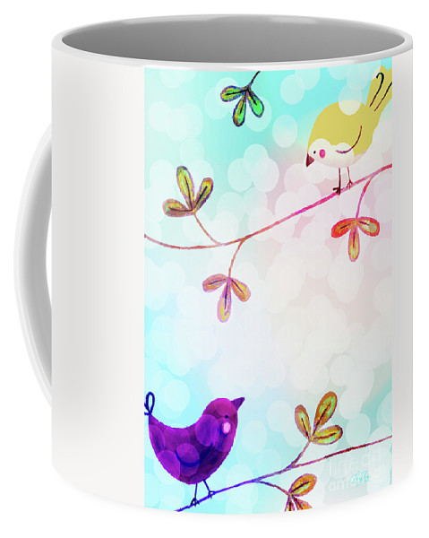 Bird Coffee Mug featuring the painting Good Morning Tweets by Cheryl Rose