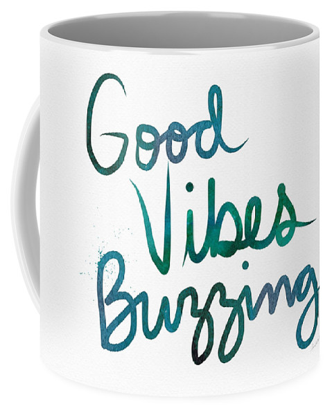 Good Vibes Coffee Mug featuring the painting Good Vibes Buzzing- Art By Linda Woods by Linda Woods
