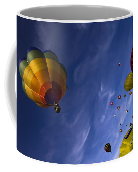 Balloon Fiesta Coffee Mug featuring the photograph Good Vibrations by Angel Ciesniarska