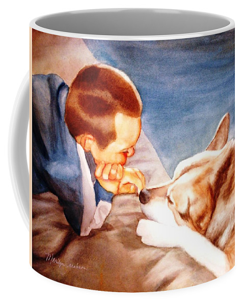 Boy & Dog Coffee Mug featuring the painting Goodbye Misty by Marilyn Jacobson