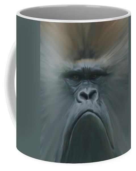 Animals Coffee Mug featuring the digital art Gorilla Freehand Abstract by Ernie Echols