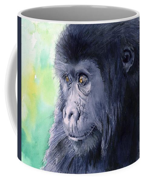 Gorilla Coffee Mug featuring the painting Gorilla by Galen Hazelhofer