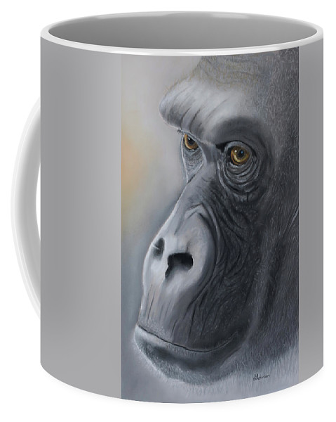 Love Coffee Mug featuring the pastel Gorilla Love by Louise Andersen