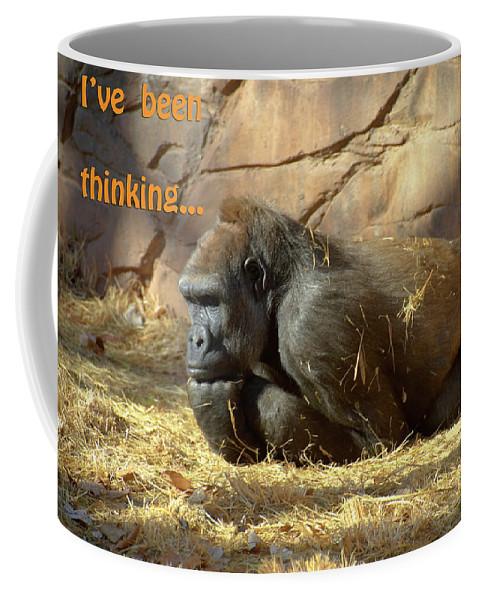 Gorilla Coffee Mug featuring the photograph Gorilla Musings by Betty LaRue