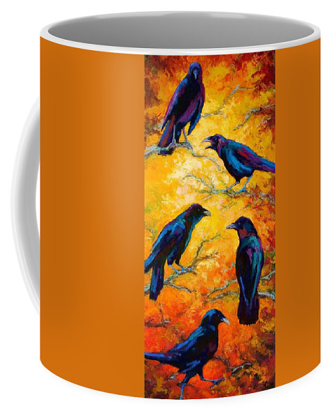 Crows Coffee Mug featuring the painting Gossip Column II by Marion Rose