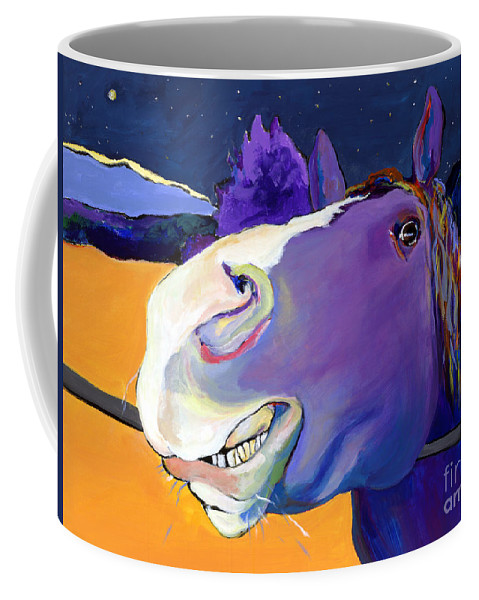 Barnyard Animal Coffee Mug featuring the painting Got Oats   by Pat Saunders-White