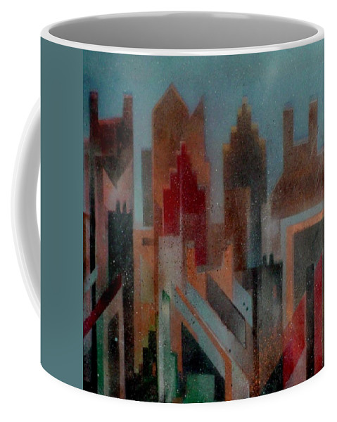 Abstract Coffee Mug featuring the painting Gothem City by Anita Burgermeister