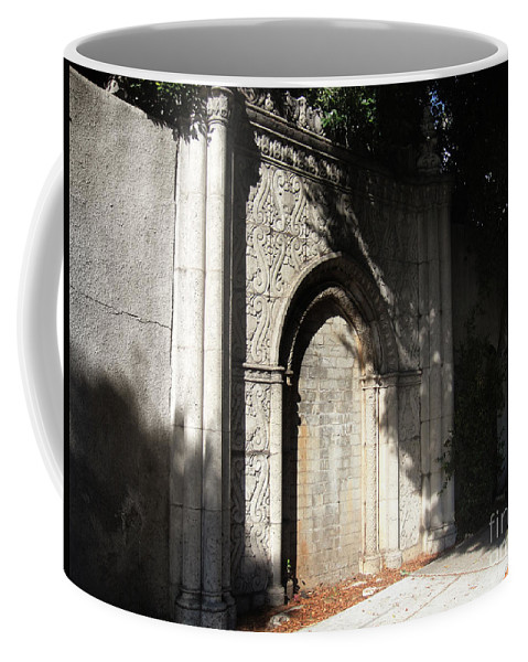Gothic Coffee Mug featuring the photograph Gothic Darkness. Old Gate by Sofia Metal Queen