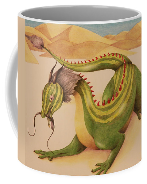 Dragon Coffee Mug featuring the drawing Gourd Dragon by Michelle Miron-Rebbe