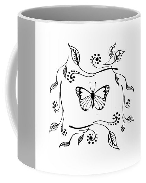 Butterfly Coffee Mug featuring the drawing Graceful Butterfly Baby Room Decor Iv by Irina Sztukowski