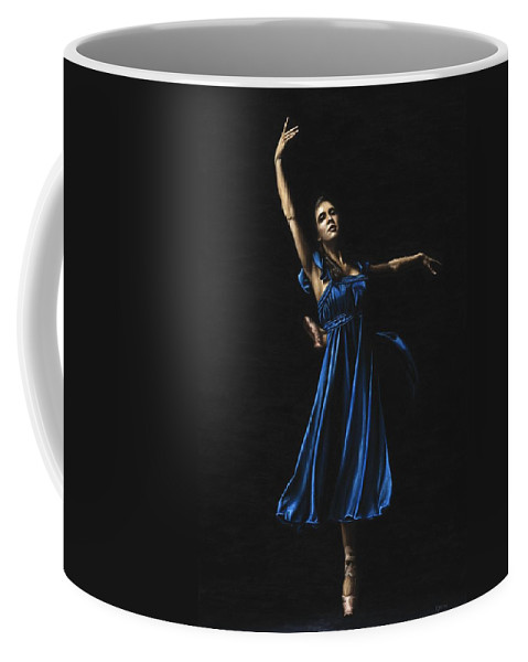 Graceful Coffee Mug featuring the painting Graceful Dancer In Blue by Richard Young