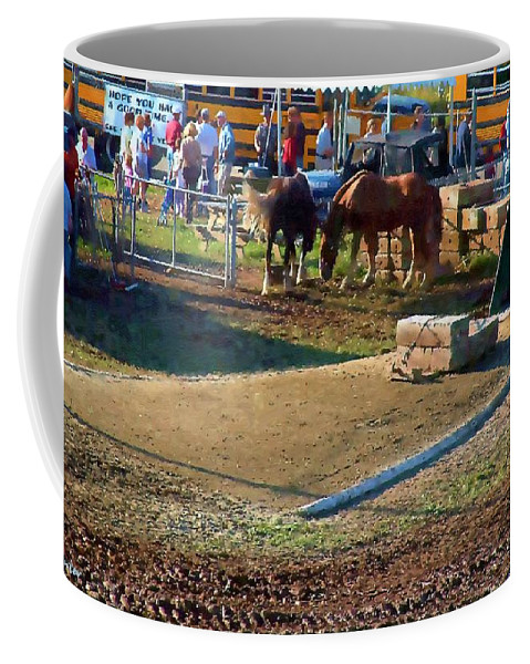 Agricultural Coffee Mug featuring the painting Grading The Ring by RC DeWinter